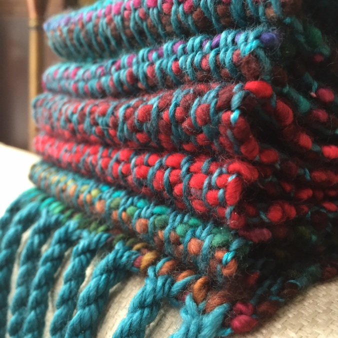 jewel-toned merino with chunky fringe