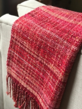 "red/pink shawl 68"" x 27"" $100"
